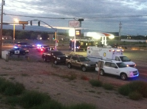 """(Photo Courtesy Richard Estrada for KOB.com) Deputies with BCSO are currently at Blake and Coors gathering evidence after finding a body with signs of """"violent trauma"""""""